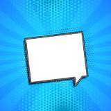 Comic chat bubble on blue background with copyspace stock illustration