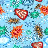 Comic Chat Seamless Pattern. Comic book chat humor sounds and explosions seamless pattern vector illustration Royalty Free Stock Photo