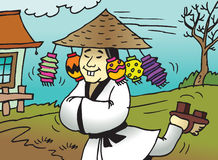 Comic Chinese Cartoon. Vector Illustration a a comic cartoon of a happy chinese running with lamps in his hat Royalty Free Stock Photo