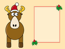 Comic Christmas card. Christmas card featuring  a funny reindeer with santa hat and a text box decorated with mistletoe Stock Image