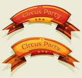 Comic Circus Party Banners And Ribbons. Illustration of a set of funny cartoon circus party banners and ribbons, red and yellow, for festive event, carnival Stock Photography