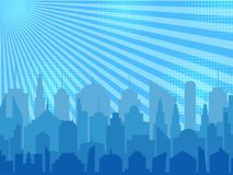 Comic cityscape concept. With city silhouette halftone and radial humor effects in blue colors in pop art style. Vector illustration Stock Photo