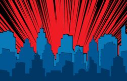 Comic cityscape. Retro urban silhouette of city buildings for art book comics with light effects vector scene background