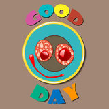 Comic color plate Good Day. Comic color plate with wishes for good day. Vector illustration Royalty Free Stock Photography