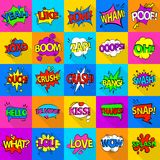 Comic colored sound icons set, flat style. Comic colored sound icons set. Flat illustration of 25 comic colored sound vector icons for web Stock Photos