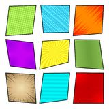 Comic colorful frames collection. With radial slanted lines striped grid rays and halftone humor effects in pop-art style. Blank template. Vector illustration Royalty Free Stock Image