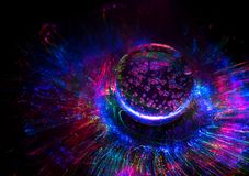 Comic colorful lights background with galaxy and planet royalty free stock images