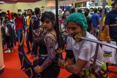 Comic Con Bangalore. Event 2018. Cosplay artist as a video game character stock photo