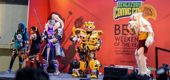 Comic Con Bangalore. Event 2018. Cosplayers getting judged during the Cosplay contest royalty free stock photos