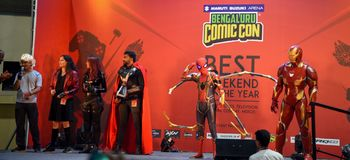 Comic Con Bangalore. Event 2018. Cosplayers getting judged during the Cosplay contest stock photography