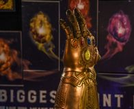Infinity gauntlet, Thanos, Avengers, Endgame, Comic Con. Comic Con Bangalore event 2018. Infinity Stone gauntlet displayed during the exhibition royalty free stock photography