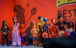 Comic Con Bangalore. Event 2018. Kids dressed as their favourite superhero characters royalty free stock image