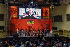 Comic Con Bangalore. Event 2018. Special tribute to Stan Lee by international guest royalty free stock photos