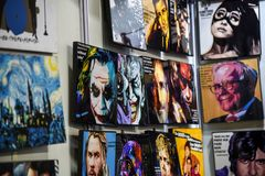 Comic Con Bangalore. Event 2018. various posters of icons and comic book characters displayed during the exhibition stock images