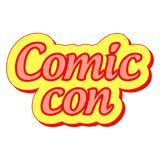 Comic Con international annual festival, vector sticker label Comic Con Royalty Free Stock Photos