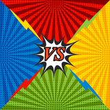 Comic confrontation bright background. With four opposite sides, lightnings, speech bubble, radial and halftone effects in red, blue, orange and green colors Royalty Free Stock Photos