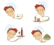 Comic cook and food Royalty Free Stock Photo