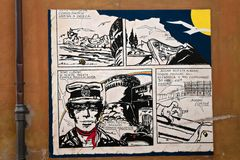 Comic of cortomaltese mural painting Stock Image