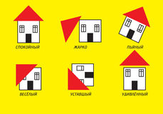 Comic cottages. Collection of comic cottages Royalty Free Stock Photos