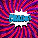 Comic Crack wording concept. With blue inscription white speech bubble halftone radial and rays humor effects. Vector illustration Royalty Free Stock Image