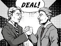 Comic deal done. Retro two men agree to make a deal and shaked hands with each other, comic book style speech bubble, pop art, black and white Royalty Free Stock Images