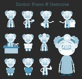 Comic Doctors Various Gestures and Concepts Vector Set Royalty Free Stock Photos