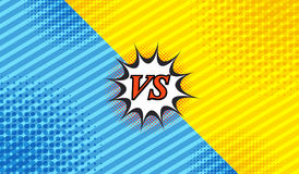 Comic duel background. With two opposite sides slanted lines and halftone effects in blue and yellow colors. Vector illustration Stock Photos