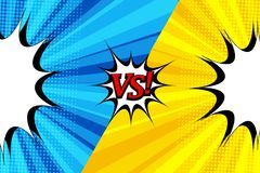 Comic duel bright template. With two opposite blue and yellow sides, blank speech bubbles, halftone effects on radial backgrounds. Vector illustration Royalty Free Stock Image
