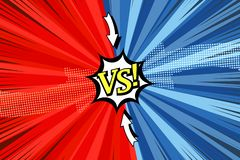 Comic duel concept. With two opposite red and blue sides white speech bubble halftone arrows rays radial humor effects. Vector illustration stock illustration