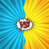 Comic duel explosive concept. With red VS inscription lightnings two opposite sides white speech bubble rays radial humor effects in yellow and blue colors Stock Photos