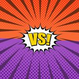 Comic duel and fight concept. With white speech bubble VS wording two opposite purple and orange sides halftone rays humor effects. Vector illustration vector illustration