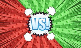Comic duel and fight template. With two opposite red and green sides white speech bubbles clouds blue VS wording rays dotted radial humor effects. Vector stock illustration