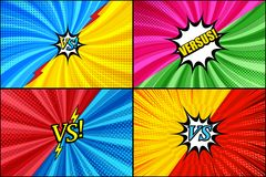 Comic duel and fight templates set. With colorful inscriptions speech bubbles rays radial lightnings and halftone humor effects. Vector illustration Stock Images