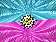 Comic duel horizontal background. With two opposite colorful sides, halftone, radial and rays humor effects. Vector illustration Royalty Free Stock Photos
