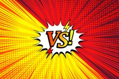 Comic duel horizontal concept. With two opposite sides white speech bubble lightnings rays halftone radial humor effects in red and yellow colors. Vector Stock Photo