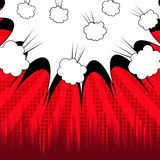 Comic dynamic concept. With white speech bubble explosive clouds halftone radial and rays humor effects on red background. Vector illustration Royalty Free Stock Photography