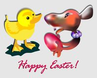 Comic Easter wishes and love. A small mouse is giving a red egg to a yellow chicken with easter text and wishes. Unusual and very funny image Stock Images