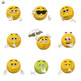 Comic emoticon set Stock Photos