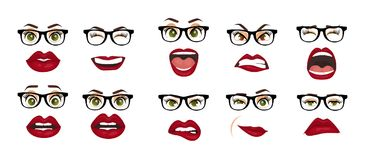 Comic emotions. Woman with glasses facial expressions, gestures, emotions happiness surprise disgust sadness rapture royalty free illustration