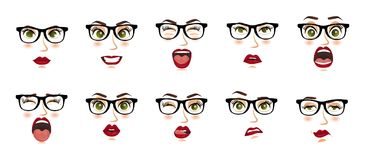Comic emotions. Woman with glasses facial expressions, gestures, emotions happiness surprise disgust sadness rapture disappointmen Royalty Free Stock Images