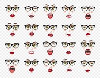 Comic emotions. Woman with glasses facial expressions, gestures, emotions happiness surprise disgust sadness rapture vector illustration