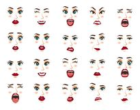Comic emotions. Women facial expressions, gestures, emotions happiness surprise disgust sadness rapture disappointment. Women facial expressions, gestures vector illustration
