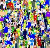 Comic Expectation. Background of many fictional heroes Stock Image