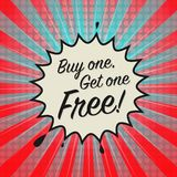 Comic explosion with text Buy One, Get One Free. Vector illustration royalty free illustration