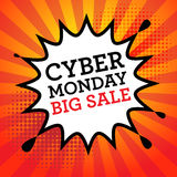 Comic explosion with text Cyber Monday, Big Sale Stock Photos