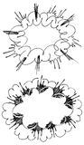Comic explosions. Illustration of the comic style hand drawn explosions Stock Photo