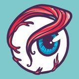 Comic eyeball icon, hand drawn style royalty free illustration