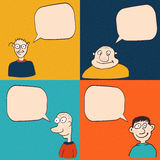 Comic faces with speech bubbles. Vector cartoon illustration Royalty Free Stock Image