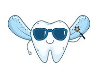 Comic fairy tooth with sunglasses kawaii character. Vector illustration royalty free illustration