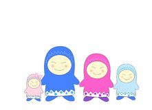 Comic family. On a white background Stock Illustration